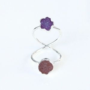 Genuine druzy silver-plated double ring
